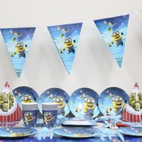 Wholesale cartoon minions paper plate cup napkin banner kids birthday party decoration festival supplies favor for people use
