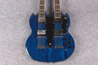 ¡Nueva llegada! Cuello doble de la tienda ES-1275 de encargo La guitarra azul de las secuencias del color 6-12 del océano, envío libre OEM aceptado