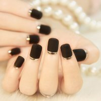 Wholesale Hot Black matte texture metal edge high end French patch fake nails nail stickers nail nail products