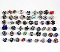 Wholesale 50pcs MM Snap button Mixed Ginger Snap Rhinestone Style Diy Interchangeable Snap Jewelry Chunk Button Fit Noosa Ginger Snap Bracelets