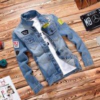 achat en gros de patchwork conçoit patches-Vente en gros - 2016 New Mens Vestes Brand New Slim Fit Vintage Denim Patch Designs Jeans Veste Hommes Manteaux Jaqueta Masculina Plus Size 4XL