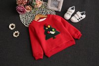 Wholesale New arrival Children clothing Boys girls hoodies With velvet Babies pullover Lovely christmas tree Fashion and korean style