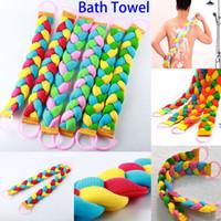 bath mud - New Style Bath Towel Women Men Twist Long Rainbow Color Massage Back Pull Back Rub Mud Scrubs Body Bath Towel WX T02