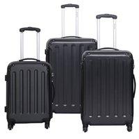 Wholesale 3 Luggage Travel Set Bag ABS PC Trolley Suitcase Black