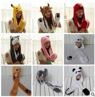 Wholesale 30Styles Animal Scarf Hat Gloves Set Cute Cartoon Long Style Plush Hats Animal Christmas Plush Winter Hat Caps Poke mon Bear