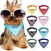 Wholesale 9 Colors Dog Collars Adjustable Pet Dog Cat Bandana Scarf Collar Neckerchief Brand New Mix Colors CM DH001