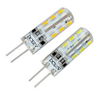 Vente en gros-10Pcs / Lot G4 2W 24SMD 3014LED DC12V lumière chaude blanc / blanc Ampoule Lampe