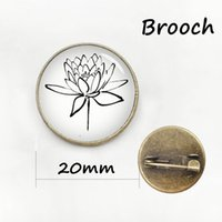 asian art design - The latest fashion four leaf clover pin Simple design plant beautiful flower Art Picture Glass Cabochon badge women brooch