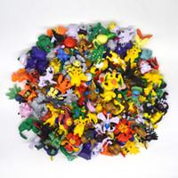 Wholesale 144pcs set Poke Go Figures Toys cm Multicolor Pikachu Cartoon Charizard Eevee Bulbasaur Suicune PVC Mini Model Toy Kids Christmas Toys