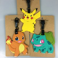 Wholesale 16 Styles Poke Pikachu Silicone Luggage Tag Travel Suitcase Tag Cute Cartoon Luggage Identification Boarding Pass Checked Label B1107