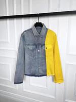 al por mayor hombres de la chaqueta de mezclilla de color amarillo-Moda Hombres Denim Chaquetas Hombre de manga larga de la vendimia Hombre Jean Abrigos OWash de los hombres el vaquero golpeó la chaqueta de costura de color amarillo