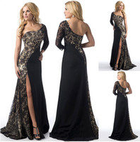 une robe de soirée en dentelle noire et épaule achat en gros de-Femmes Sexy Stitching Lace One Shoulder Black Long Dress Evening Party Robe de cocktail Hand Wash Slim Party Dress ouc051