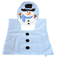 Wholesale Christmas Decoration Blue Snowflake Toilet Seat Covers Toilet Seat Cover Rug Bathroom new Happy XMAS toilet seat cover