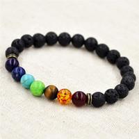 Wholesale jewelry factory mm Muti color Beads Bracelets Lava Chakra Healing Balance Bracelet for Men Rhinestone Reiki Prayer Stones
