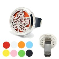 Wholesale Car Air Freshener L Stainless Steel Maple Leaf mm Round Magnetic Locket Aromatherapy Essential Oil Diffuser Vent Clip With Refill Pad