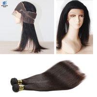 Negro Brown 360 encaje Frontal con 2 paquetes brasileño Virgen pelo recto cuerpo Wave 360 frontal cierre no procesado Remy cabello humano tejido