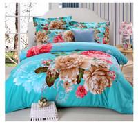 al por mayor bed sheets 3d-2017 Nueva hoja de cama 3D de lujo de impresión floral conjuntos de ropa de cama Conjuntos de edredón Queen Size Duvet