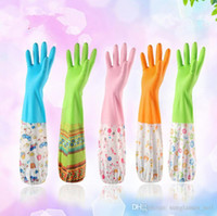 Wholesale Fleece Inside Waterproof Oil Dishwashing Gloves Magic PVC Long Anti Cold Gloves Cleaning Housework Kitchen Cleanning Gloves PPA645