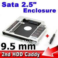 Venta al por mayor-2da Caddy 9.5mm SATA 3.0 a Sata caso SSD HDD 2.5