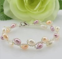 Wholesale AAA mm tahitan naturalrMixed color oval pearl bracelet