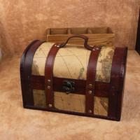 Wholesale Factory sell Vintage Jewelry Box handmade Organizer Storage shabby Wooden Treasure Chest Box