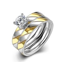 Wholesale 18k gold silver plated large CZ diamond mm Couples Rings Set for Men Women Engagement Lovers pair rings