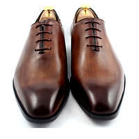 Wholesale Men Dress shoes Oxfords shoes Square toe Men s shoes Custom Handmade shoes Genuine calf leather Color Dark brown HD N162