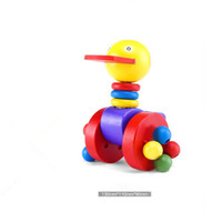 al por mayor bebé push juguetes nuevo-Maravillas de madera Push-n-Pull Pato empujando empujar a lo largo de juguetes para bebés Niños de nueva marca de buena calidad popular