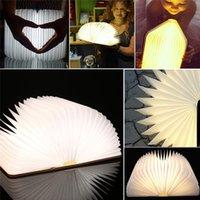Wholesale LED Book Lamp Flip Folding Book Light Wooden Book Lamp Magnetic Night Light Novelty LED Light USB Rechargeable