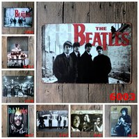 Badge & Emblem antique metal tins - Bob Marley The Beatles Vintage Tin Poster Music Band Metal Tin Signs Beatlemania Iron Painting cm Star Walls Decorative rjO