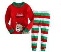 Санта костюмы Цены-2016 детская одежда опт Внешняя торговля Рождество вышивка палевый пижамы детские Санта-Клаус с длинными рукавами мальчик девочка костюм для досуга