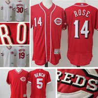 banc johnny achat en gros de-Men's Cincinnati Reds Jersey Johnny Bench 5 Pete Rose 14 Joey Votto 19 Ken Griffey Jr 30 Flex base de baseball baseball Maillots