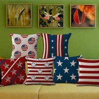 al por mayor lanzamiento de la bandera americana-Bandera Nacional Banderas americanas Estrellas y Stripe Throw Funda de almohada Funda de cojín Funda de almohada Funda de almohada cuadrada de algodón Pillowslip