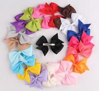 achat en gros de prix de gros ruban de cheveux-20 couleurs cute bébé Grosgrain ruban cheveux clip clip fleur épingle à cheveux enfants filles accessoires de coiffure Prix de gros
