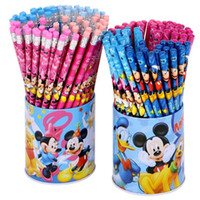 Crayons de bois hb Prix-72 pcs / lots Mickey Mouse Cute Kawaii HB School Classic Novelty Writing Pencil en bois pour les enfants Stationary School Fournitures de bureau