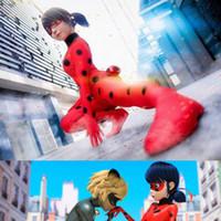 al por mayor vestidos de las muchachas hasta-Ladybug niña ropa disfraz disfraz disfraz cosplay niños peluca etapa papel bolsillos ojo máscara