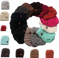 acrylic yarn - Winter Hat Women Beanies Female Hat Hot Autumn Europe CC Labeling Knitting Cap Sleeve Cap Outdoor Warm Hat GG11