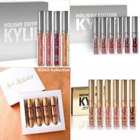 Wholesale New Kylie Holiday Edition Birthday Edition Lipsticks Chrismas Kylie lip kit Gold Metal Matte lipstick KoKo Collection pc