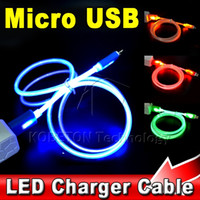 Wholesale Visible LED Light Micro USB Data Sync Charger Cable M for HTC One Nexus Xiaomi Huawei for Samsung Galaxy S4 S6 Note G2 G3