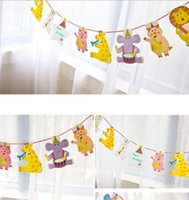 banner happy birthday - New Arrive Pack M Happy Family Baby Shower Cartoon Animal Garland Striped Paper Flags Banner Decor Birthday Party Supplies For kids