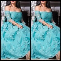 Cheap Aqua Blue Off The Shoulder Lace Applique Party Prom Dresses With Long Sleeve 2017 New Vestido De Festa Curto Formal Gowns