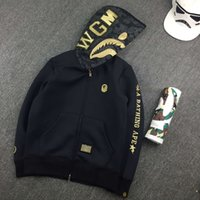 Wholesale New brand Men s clothes hoodies jacket Gold embroidery shark letter men fashion Space cotton Hooded hoody