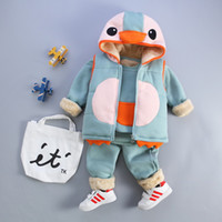 Wholesale Baby Boys Girls Vest coat pants Pieces sets Duck hooded Vest thickening Cartoon Coat
