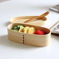 Wholesale Wood Lunch Box Dessert Sushi Lunch Box Oval Portable cm Capacity ML White Pine Wood Japanese Korean Style MOQ Piece