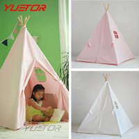 Cheap Wholesale-Brand YUETOR high quality 100% cotton canvas kids play tent with tente enfant child game house Indian teepee toy tent for kids