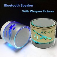 audio discs - Hotselling Mini portable crackle texture Weapon Bluetooth Speaker with LED light can insert U disc mobile phone player with retail box