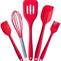 Wholesale FDA Approved Silicone Cooking Tools Silicone Kitchen Utensils Set Piece in Hygienic Solid Coating