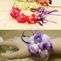 Wholesale 2016 Real Boutonnieres Wedding Prom Wrist Corsage With Bracelet Bride Flowers Decorative Flowers amp wreaths
