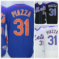 Wholesale Mike Piazza Jersey Mets Throwback Baseball Jerseys Cheap Mens Full Stitched Embroidery Logo White Blue Black Size S XL