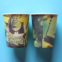 Precio de Tercero-Shrek al por mayor-10pcs el vajilla de la tercera taza del papel de la impresión del tema para la decoración del partido de las tazas de consumición de la fiesta de cumpleaños